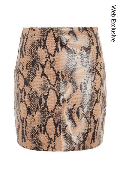 Snake Print High Waist Skirt